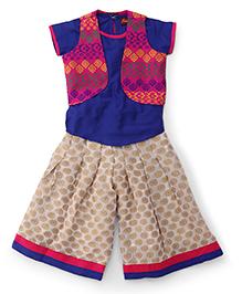 Twisha Attractive Ethnic Kurti Palazzo & Jacket Set - Off White Blue & Pink
