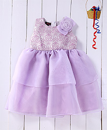 Pspeaches Jacquard Bodice Tier Dress - Lilac