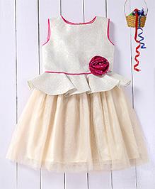 Pspeaches Jacquard Peplum Yoke Dress With Shimmer Flower On The Belt - Ivory