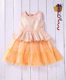 Pspeaches Peplum Jacquard Yoke Layered Dress - Peach