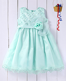 Pspeaches Embroidered Yoke With Layered Dress - Sea Green