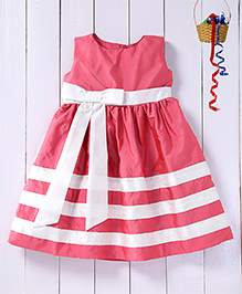 Pspeaches Waist Band Pleated Yoke Dress With A Bow - Pink