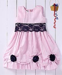 Pspeaches Dot Print Tuck Pleated Yoke Dress - Rose Pink
