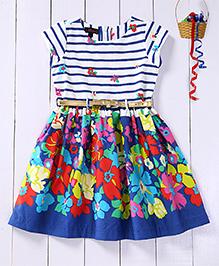 Pspeaches Horizontal Stripes Semi Floral Dress With Belt - Blue