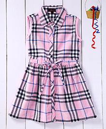 Pspeaches Checkered Shirt Dress - Pink