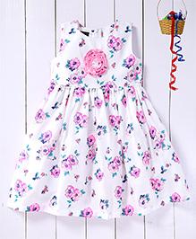 Pspeaches Rose Printed Ruffle Work Yoke Dress - White & Pink