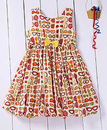 Pspeaches Sunglasses Printed Balloon Dress With Bow Applique - Mutlicolored