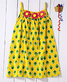 Pspeaches Yoke Printed Strap Dress With Flower Applique - Yellow