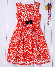 Pspeaches Flower Printed Dress With Back Bow Applique - Orange