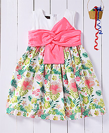 Pspeaches Semi Printed Broad Bow Bodice Dress - White & Pink