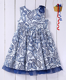 Pspeaches Paisley Printed Fit & Flare Dress - Blue & White