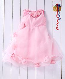 Pspeaches Asymmetric Tulip Applique Layered Dress - Pink