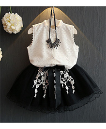 Pre Order - Lil Mantra Lace Design Skirt & Top Set - Black & White