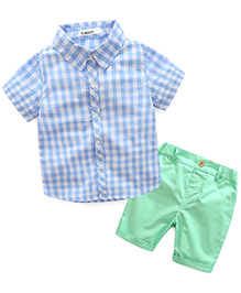 Pre Order - Lil Mantra Checkered Shirt & Shorts Set - Blue & Green