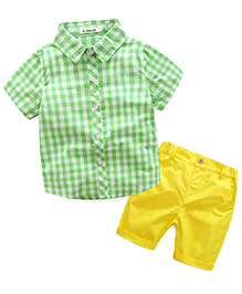 Pre Order - Lil Mantra Checkered Shirt & Shorts Set - Green & Yellow
