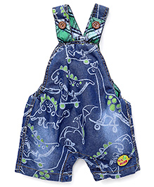 Little Kangaroos Denim Dungaree Style Romper Dinosaur Print - Blue Green