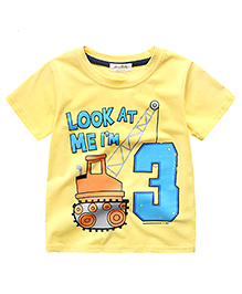 Lil Mantra Construction Print T-Shirt - Yellow