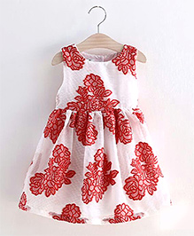 Lil Mantra Floral Design Dress - Red & White