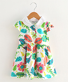 Lil Mantra Flower & Leaf Print Collared Dress - Multicolour