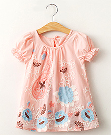 Lil Mantra Flower Embroidery Tunic - Peach