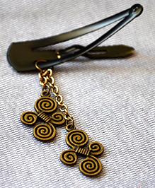 Pretty Ponytails Spiral Butterfly Tassel Hair Clip - Gold