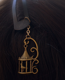 Pretty Ponytails Ornate Bird Cage Tassel Design Tic Tak Hair Clip - Gold