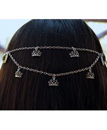 Pretty Ponytails Crown Tiara Chain Attached Hair Clip - Silver