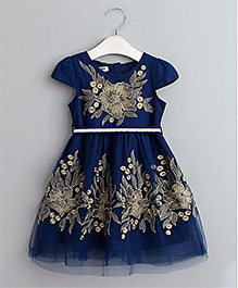 Pre Order - Mauve Collection Cap Slevees Embroidered Fit & Flare Dress - Blue