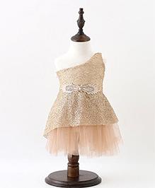 Pre Order - Mauve Collection One Shoulder Sequence Dress - Golden