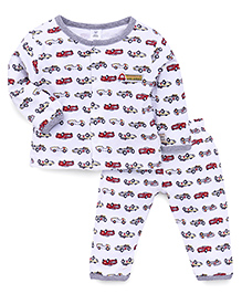 ToffyHouse Full Sleeves Night Suit Allover Vehicles Print - White Grey