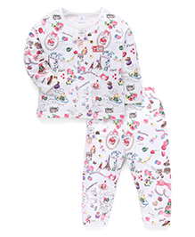 ToffyHouse Full Sleeves Night Suit Allover Paris Print - White Multicolor