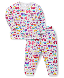 ToffyHouse Full Sleeves Night Suit Allover Bows Print - White Multicolor