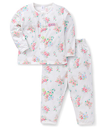 ToffyHouse Full Sleeves Night Suit Allover Rose Print - White Pink