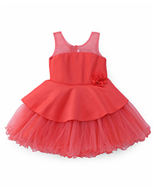 Bluebell Sleeveless Party Wear Frock With Ruffled Hem - Peach