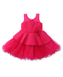 Bluebell Sleeveless Party Wear Frock With Ruffled Hem - Dark Pink