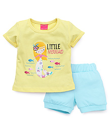 Button Noses Short Sleeves Top And Shorts Set Little Mermaid Print - Lemon Yellow & Blue