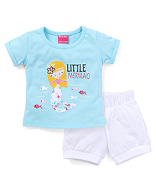 Button Noses Short Sleeves Top And Shorts Set Little Mermaid Print - Blue & White