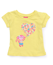 Button Noses Half Sleeves Tee Monkey Print - Lemon Yellow