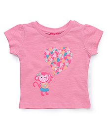 Button Noses Half Sleeves Tee Monkey Print - Pink