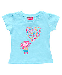 Button Noses Half Sleeves Tee Monkey Print - Sea Green