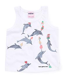Button Noses Sleeveless Tee Dolphin Print - White Grey