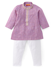 Exclusive From Jaipur Full Sleeves Kurta Pyjama Set - Purple White