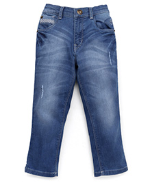 Gini & Jony Stone Washed Jeans With Elasticated Waist - Blue