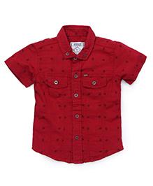 Gini & Jony Half Sleeves Printed Shirt - Red