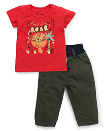 Gini & Jony Half Sleeves T-Shirt & Trouser Set - Red And Olive Green