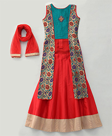 Enfance Exclusive Indo Western Long Top & Lehenga Dupatta - Red & Green