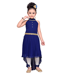 Adiva Sleeveless Embellished Dress With Leggings - Navy Blue