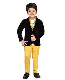 AJ Dezines Full Sleeves Blazer T-Shirt And Trouser Set - Blue Yellow White