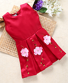 Shu Sam & Smith Box Pleat Fit N Flare Dress With Floral Applique - Maroon