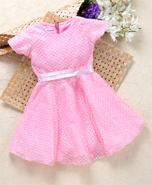 Shu Sam & Smith Fit N Flare Dress With Contrast Belt - Pink